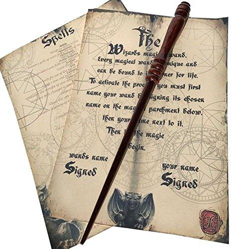Wizarding Contrebande en bois fait main Baguette magique (en acajou massif) + Extras Wizarding Wares