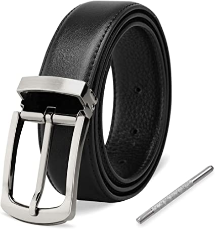 Black Classic Mens Belt PU Leather Pin Buckle Adjustable for Casual Formal Wear