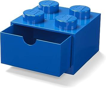 LEGO Escritorio Cajón 4 Pomos Apilables Caja Almacenaje, Azul, Pequeño: Amazon.es: Hogar