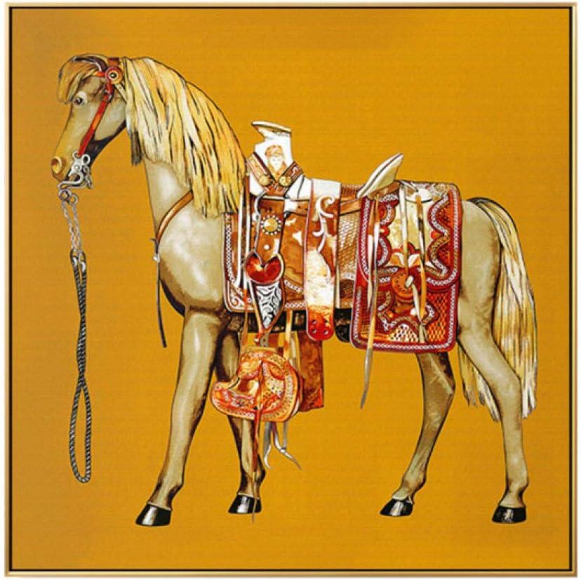 Moderno Lienzo Pintura Clásico Caballo Animal Pared Arte Poster y Impresiones Europa Caballero Pared Cuadros para Salon Habitación Moderno Hogar Decoracion 50 × 50 cm Sin Marco