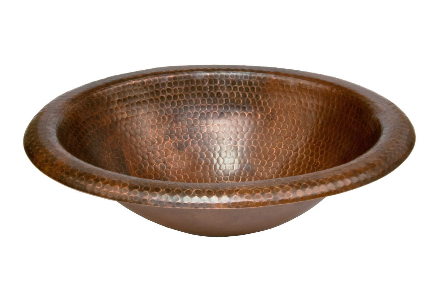 Premier Copper Products LO18RDB Wide Rim Oval Self Rimming Hammered Copper Sink, Oil Rubbed Bronze by Premier Copper Products