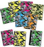 NEW GENERATION - Camouflage - Fashion School Supplies 2 Pocket Folders Value Pack with Eye-Catching Designs - Durable Set with 6 School Folders,1 Composition Notebook, 2 Spiral Notebooks