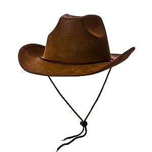 Cowboy Hat - Super Deluxe Brown Suede Fancy dress accessory