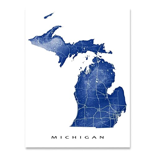 Map Home Decor Michigan License Plate Map Large Poster Art Print