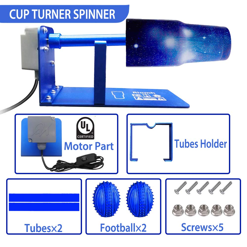 Cuptisserie for Epoxy Glitter Coating Tumbler LINMO Cup Turner Spinner Kit Cup Turner for DIY Crafts Tumbler Wooden Epoxy Turner Machine with 2 Wands and 2 Football
