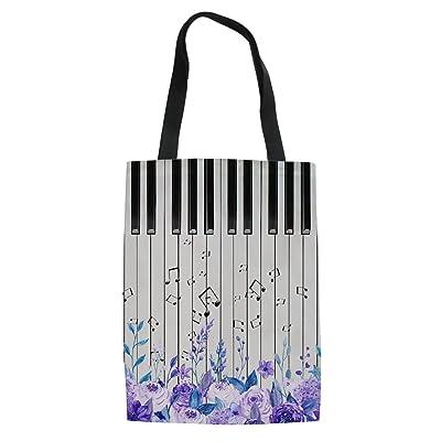 doginthehole Piano Printed Women Grirls Tote Bag Canvas Shopper Sports Gym Bag