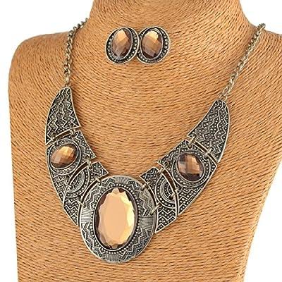 Brown Cut Acrylic Bead Pendant Black Tibet Silver Necklace Earrings Jewelry Set