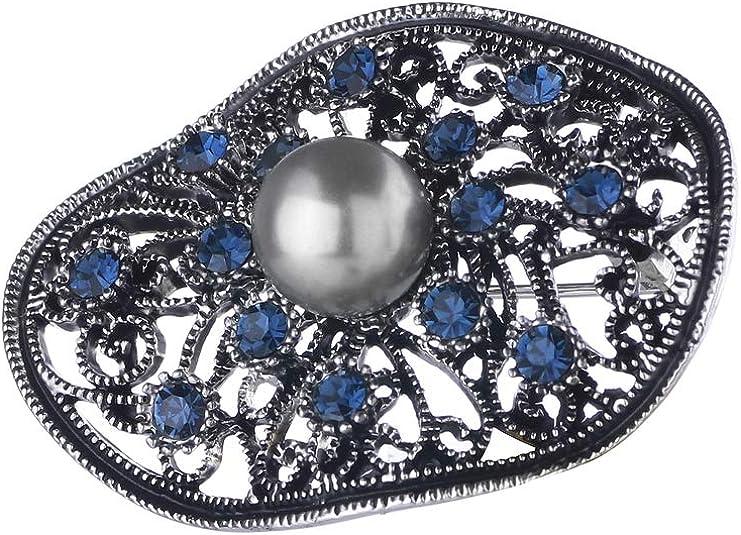 Sincera SCHMUCK Damen Elegant Brosche mit Swarovski-Kristallen und grauen Perlen 02-18541