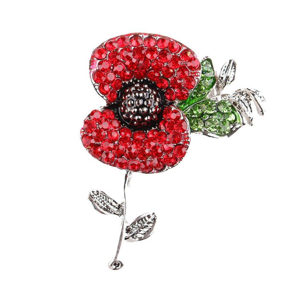 Amazon Gloria Trend Stunning Rhinestone Poppy Flower Brooch