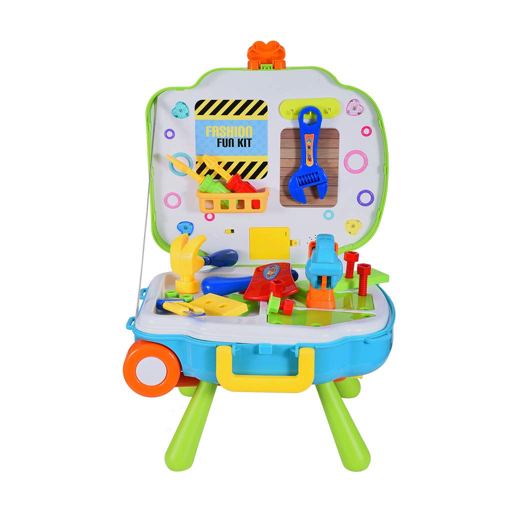 Beihxwe 3-in-1 Kids Chef Role Play Set, Doctor Pretend Play Set, Engineer Role Play Set & Handcase Organizer Role Playing Game Preschool Educational Toys for Girls (20x13x6 inches, Green) by Beihxwe