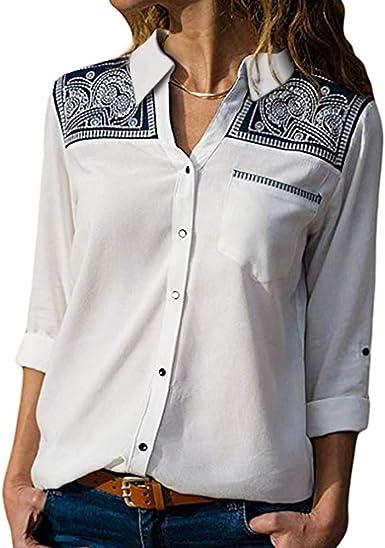 Camisa de Mujer, Blusas Manga Larga Mujer Ligero y Comodo ...
