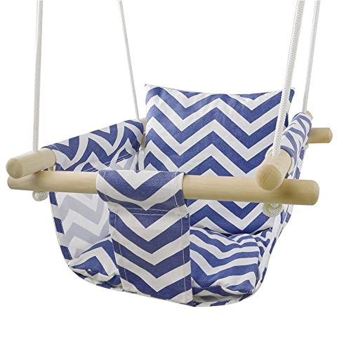 Patio Canvas Hanging Swing Hammock for Toddler Blue White