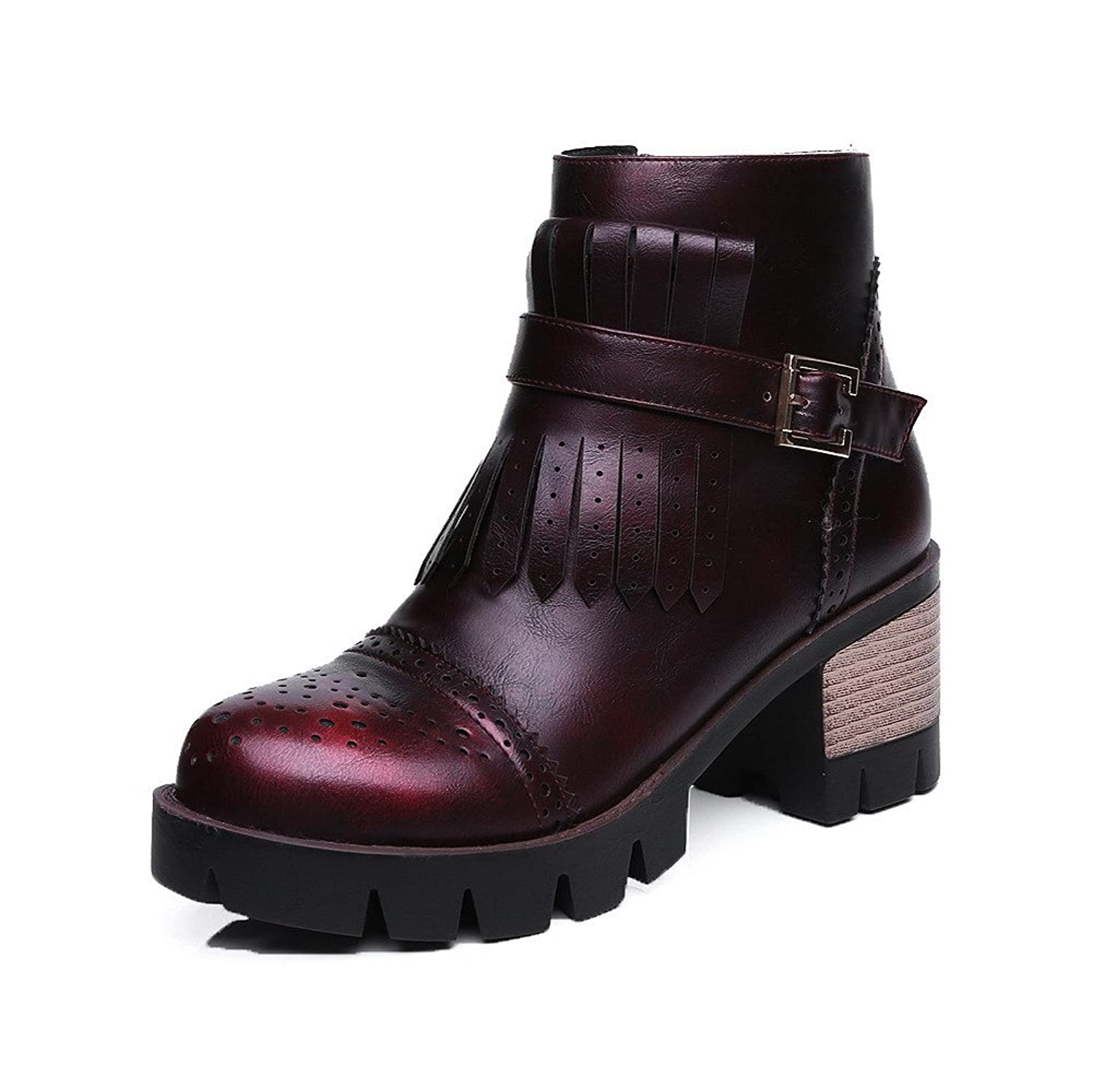 AllhqFashion Women's Soft Material Round Closed Toe Solid Low-Top Kitten-Heels Boots