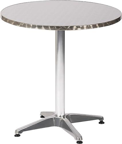 LUCKYERMORE 27.5 Round Aluminum Table Patio Backyard Bistro Table Anti-Rust Waterproof Outdoor Furniture