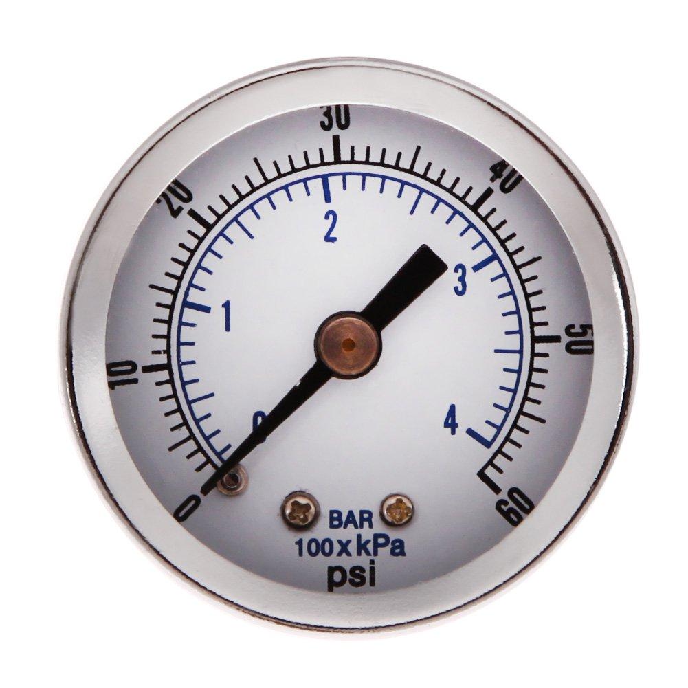 Vktech/® 1//8 NPT Air Compressor Hydraulic Pressure Gauge 0-60 PSI Back Mount 1.5 Face