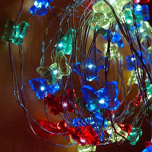 SODIAL 5M 50 LED Colorful Butterfly LED Filo di rame String Light per la decorazione della festa di Natale Decor