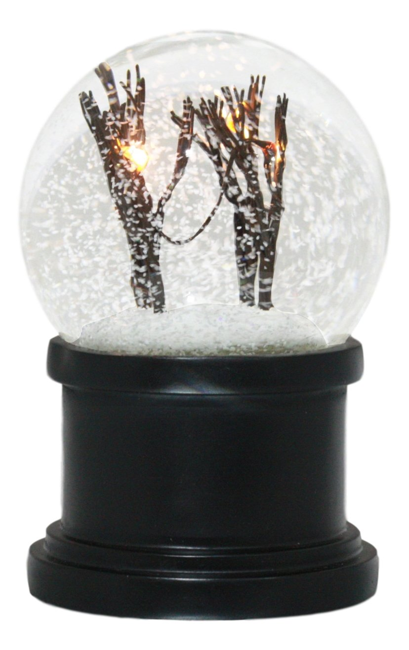Ebros Snowy And Windy Christmas Barren Winter Trees Tundra Forest LED Light Up Snow Flakes Water Globe With Internal Fan Collectible Figurine 6''Tall
