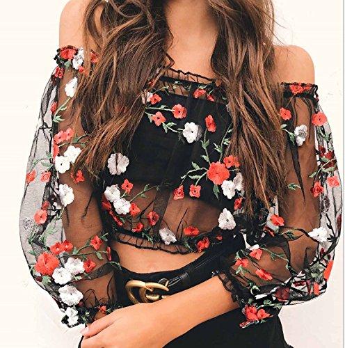 BOLAWOO Mujer Crop Top Verano Transparentes Tul Sin Hombro Camisas Elegantes Moda Bordadas De Flores Camiseta