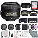 Nikon AF-S DX NIKKOR 35mm f/1.8G Lens, Platinum Accessory Bundle W/ 52mm Wide-angle & Telephoto Lens + Filters + Lens Pouch + 16 GB SD Card + Xpix Professional Handling Accessories