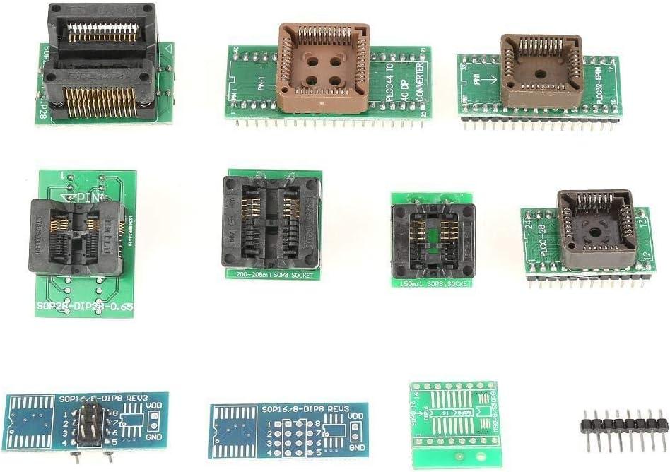 Programador Flash USB herramienta del programador programador universal TL866II Plus EEPROM USB Universal Kit de herramientas de bricolaje electr/ónico Con 10 Adaptador