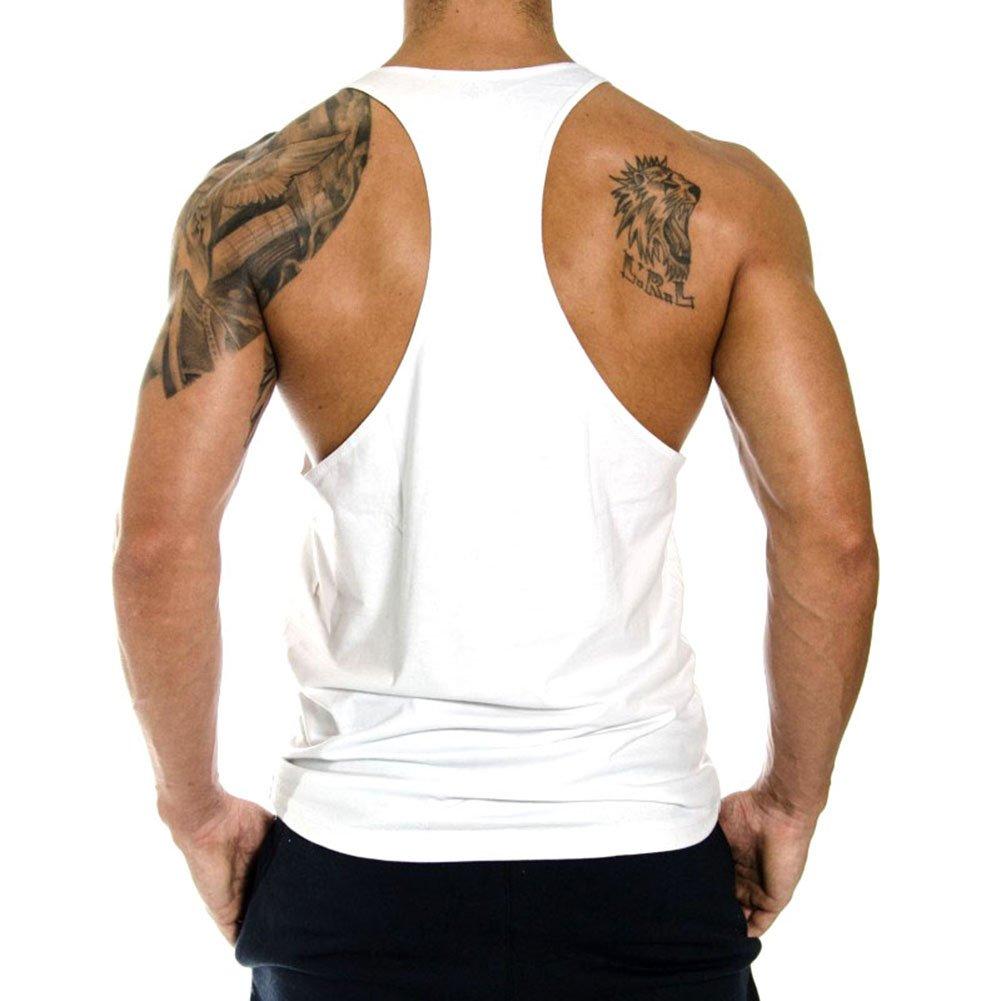 InleaderStyle Mens Gym Cotton NoPainNoGain Stringer Vest