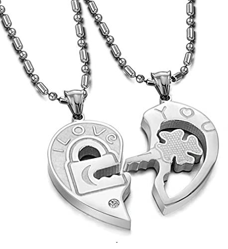 efcd8c672f Amazon.com: His & Hers Matching Set Open Your Heart Couple Pendant Necklace  Simple Love Style in a Gift Box (A Set): Necklaces For Couples: Jewelry