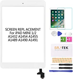 for IPad Mini 2 Touch Screen Replacement, A1432 A1454 A1455 A1489 A1490 Digitizer Replacement Glass Repair Parts, with IC Chip,Home Button,Cameral Holder,White