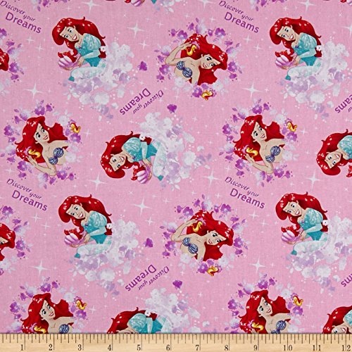Springs Creative Products 0588921 Springs Creative Disney The Little Mermaid Princess Ariel Discover Your Dreams Pink Fabric by The Yard, -