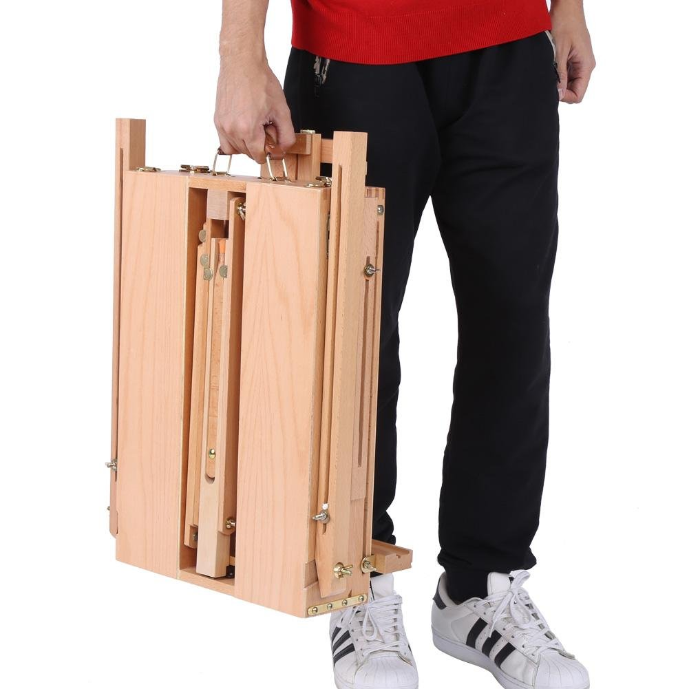 French Art Easel, 1pc Wooden Table Painting Easel Case Sketch Box Portable Folding Artist Painters Tripod with Shoulder Strap for Field Painting and Drawing(Large)(大号) by Zerone (Image #5)