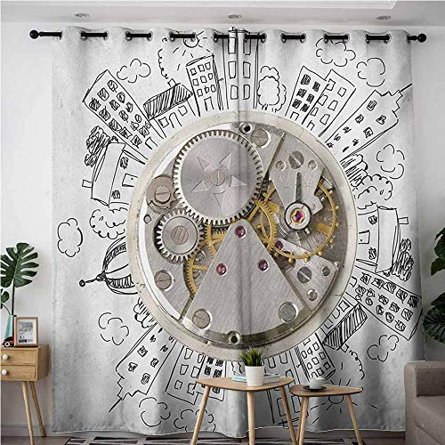 AndyTours Doorway Curtains,Clock,an Alarm Clock with Clouds and Buildings Around It in Vintage Style Pattern Design,Space Decorations,W108x108L,Pale Grey