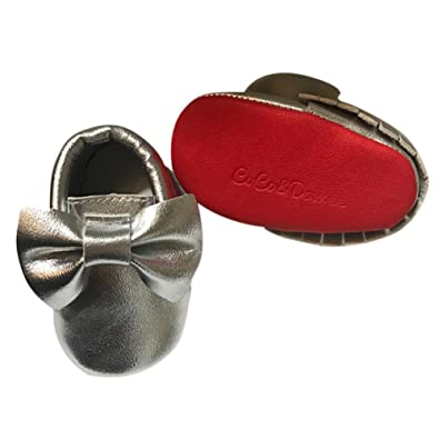 a50456e89f729 Baby Girls Silver Red Tassel Bow Soft Sole Faux Leather Crib Shoes 3-6M