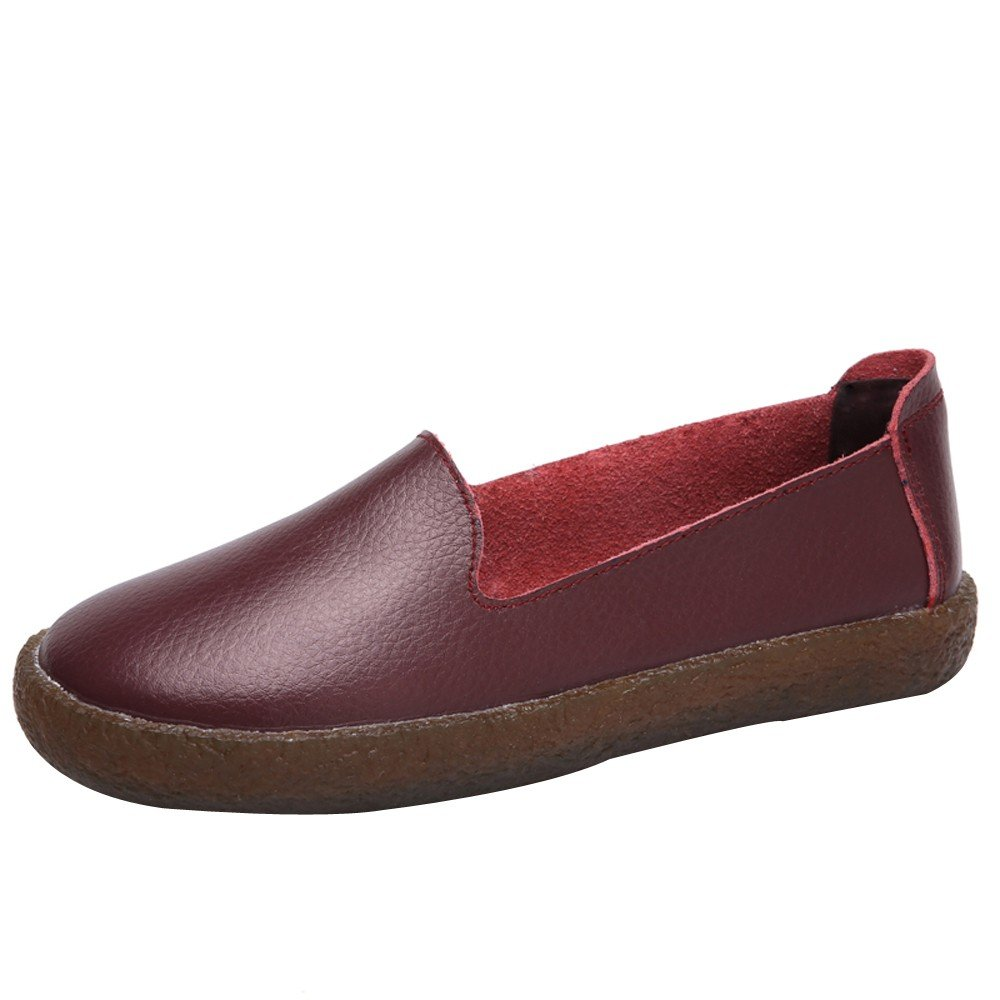 Shoes For Womens -Clearance Sale ,Farjing Women Casual Flat Round Toe Shoes Soft Running Shoes Gym Slip-on Shoes (US:7,Wine)