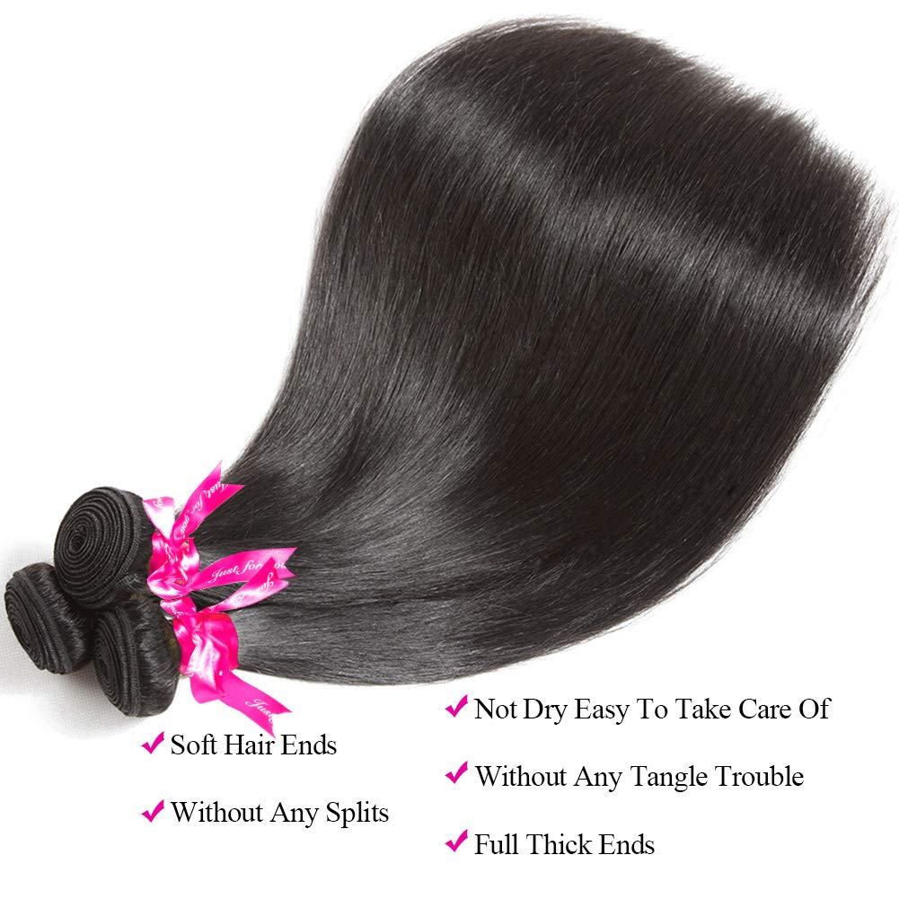 Subella Brazilian Straight Hair 3 Bundles 14 16 18inch Grade 9A Virgin Straight Human Hair Bundles Natural Black Color Hair Weave by Subella (Image #3)