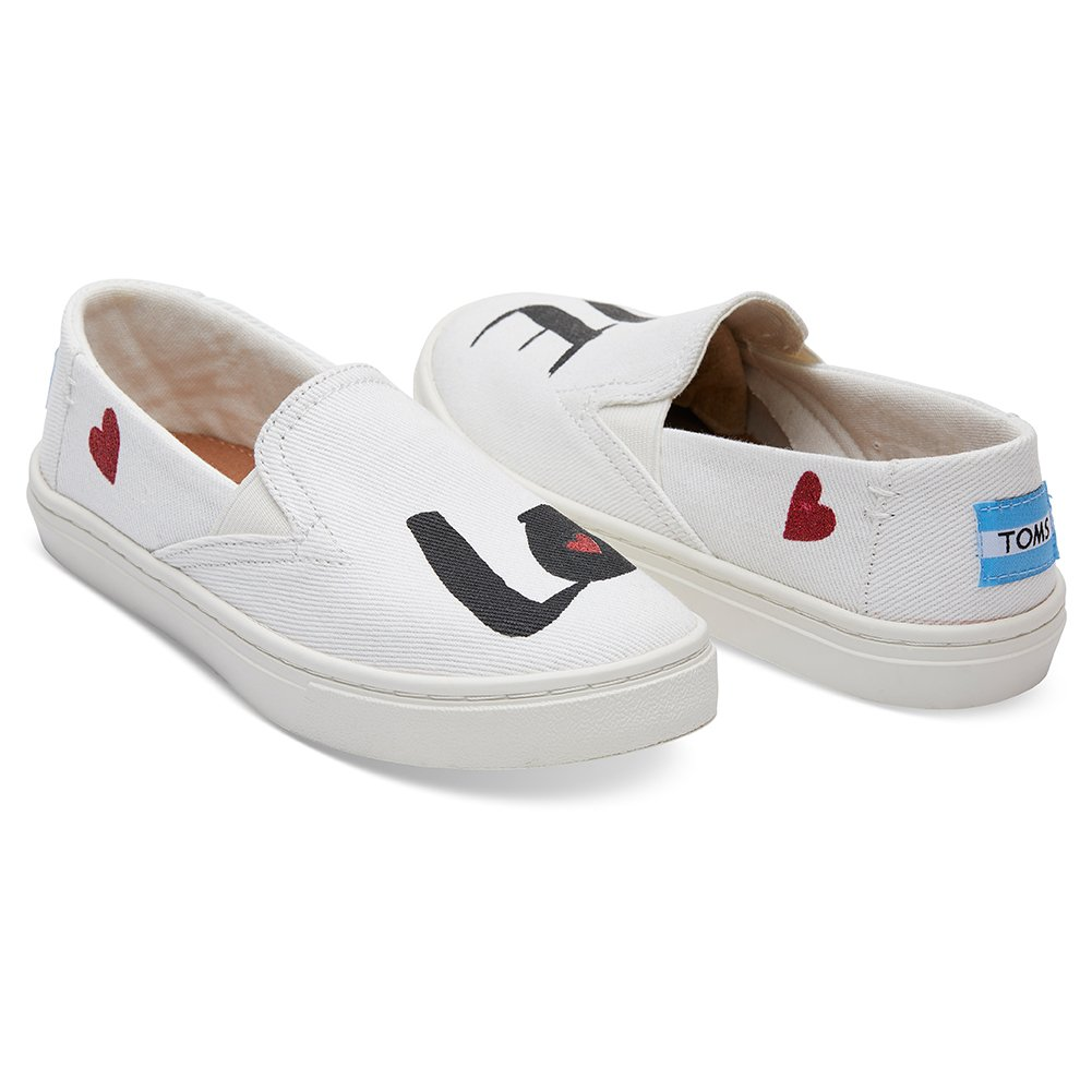 TOMS Youth Luca Polyester Slip-On, Size: 5 M US Big Kid, Color White Denim Love