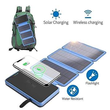 A&Dan Cargador Solar, Panel Solar con 2 Puertos USB, Batería ...