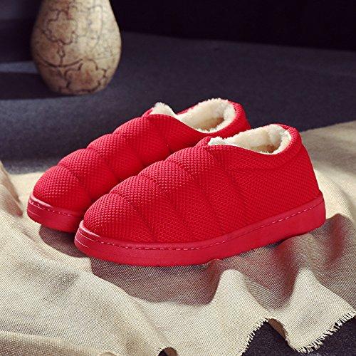 LaxBa Invierno patinar en zapatillas piel falsa nieve forrada caliente Zapatos para hombres [color] rojo270 (40-41) para el habitual 39-40: Amazon.es: ...