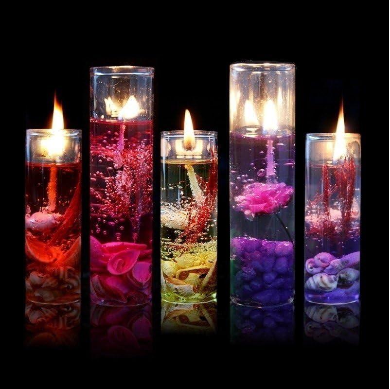 ILOVEDIY - Botellas de cristal romántico, velas océano para cumpleaños, boda, gel de cera de jalea sin humo, decoración de interior, cristal, beige, Paquete de 1: Amazon.es: Hogar