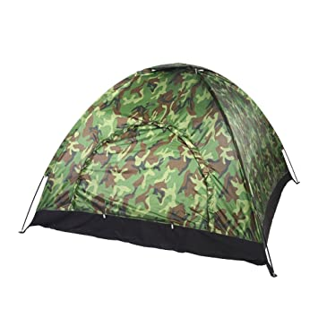 8d84d83bec Outdoor Camping Tent Camouflage 3~4 Persons UV Protection Waterproof Family Travel  Waterproof Festival Hiking Folding Tents with Portable Carrying Bag: ...