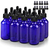 Glass Bottle Set, BonyTek 12 x 2oz Glass Spray Bottle, Blue Glass Eye Droppers Bottles for Watering Flowers Aromatherapy…