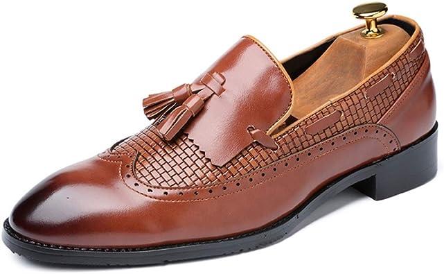Mocasines de Hombre con Punta Puntiaguda Borla de Cuero Slip on Flats Oxfords Trabajo de Oficina Fiesta de Boda de Negocios Zapatos de Vestir Formales: Amazon.es: Zapatos y complementos