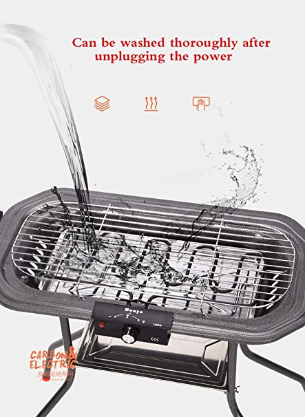 L&Y Parrilla Eléctrica Portátil Smokeless Indoor/Outdoor BBQ ...