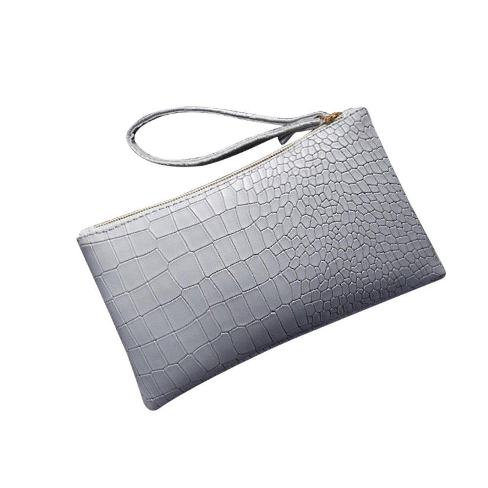 Clearance Sale! ZOMUSAR Fashion Women Girl Vintage Leather Purse Crocodile Pattern Mini Handbag Phone Bag (Light Gray)