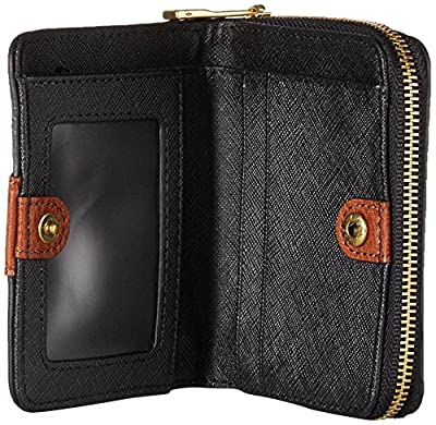 Fossil Emma Rfid Mini Multifunction Black Stripe Wallet