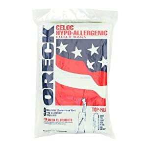Oreck Celoc Hypo-Allergenic Filter Bags for Commercial XL Upright Vacuum Cleaners Without Bag Dock (Pack of 9)