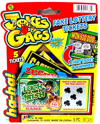 Practical Joke - Scratch-off Lottery Ticket Always Wins $5,000 - Pack of 5 (Gag Tickets)