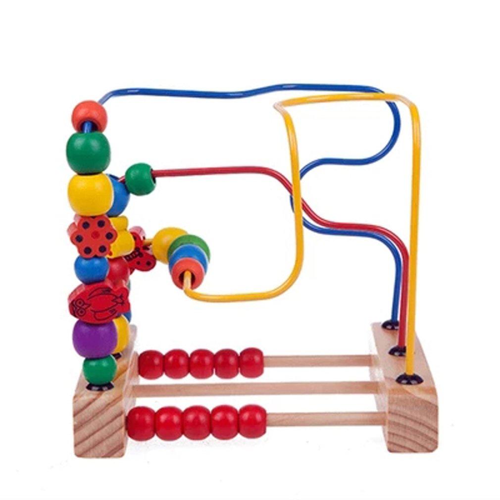 Careshine Perles Educatives jouet Jeu d\'éveil Boules Circuit de Motricité en Bois Casse-tête pour Enfant