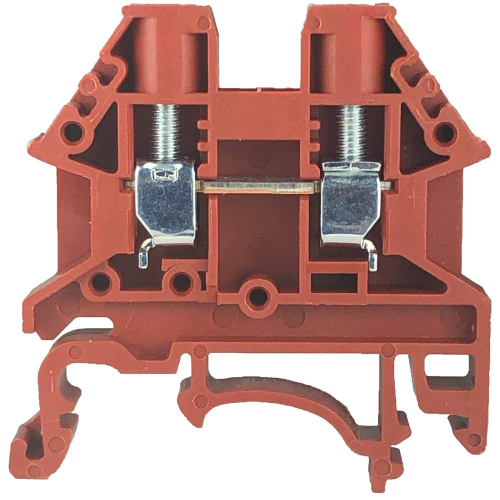 Dinkle DK4N-RD DIN Rail Terminal Block, Screw Type UL 600V 30A 10-22AWG, Red (Pack of 100)
