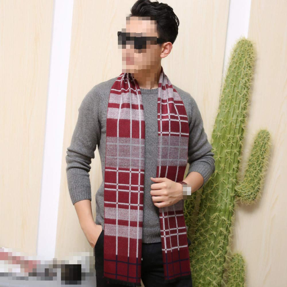 Mens Autumn And Winter Business Scarf Warm Plaid Striped Cotton Long Section