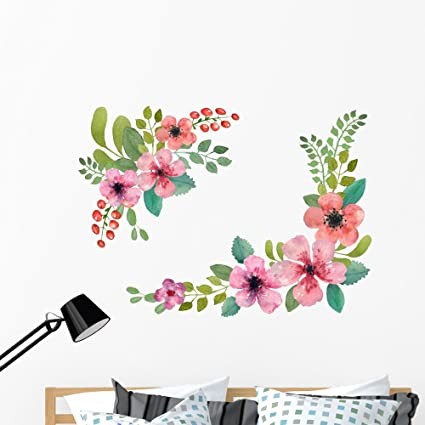 31fadd39d0 Amazon.com: Wallmonkeys Watercolor Floral Wreath Wall Decal Sticker Set  Individual Peel and Stick Graphics on a (48 in W x 34 in H) Sticker Sheet  WM367932: ...