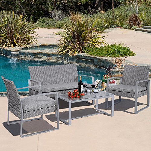 Outdoor Rattan apontus 4pc patio furniture set cushioned outdoor wicker rattan